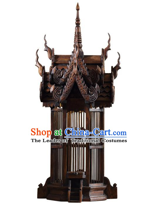 Handmade Thailand Wood Birdcage Lantern Asian Lanterns Religion Floor Lantern Traditional Lamp