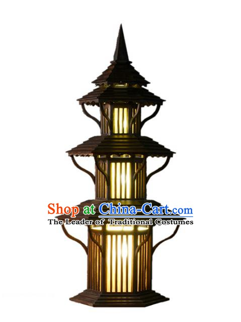 Handmade Thailand Pagoda Lantern Asian Wood Lanterns Floor Lantern Traditional Lamp