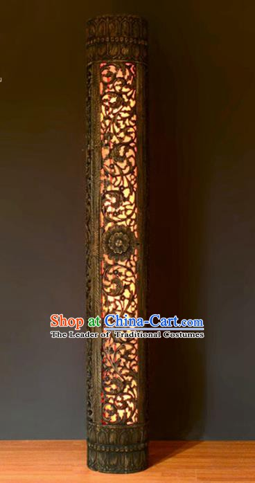 Thailand Handmade Lantern Asian Wood Carving Lanterns Teakwood Floor Lantern Traditional Lamp