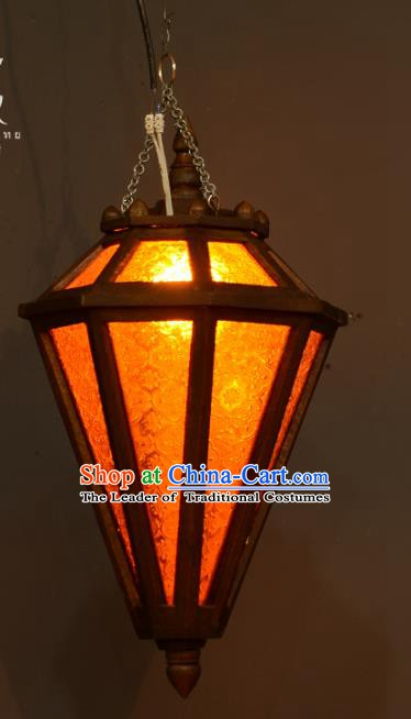 Traditional Thailand Handmade Hanging Lantern Asian Wood Ceiling Lanterns Religion Lantern