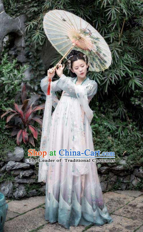 China Ancient Palace Lady Dress Tang Dynasty Imperial Concubine Embroidered Costume for Women