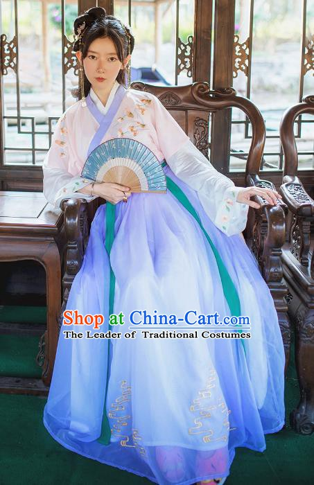 China Ancient Song Dynasty Nobility Lady Embroidered Costume for Women