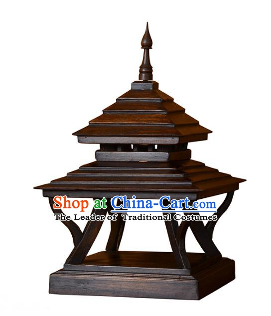 Thailand Handmade Wood Desk Lantern Southeast Asian Pagoda Lanterns Lantern Traditional Lamp