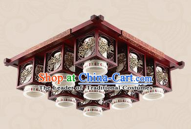 Traditional Chinese Handmade Nine-Lights Lantern Asian Wood Carving Ceiling Lanterns Ancient Lantern