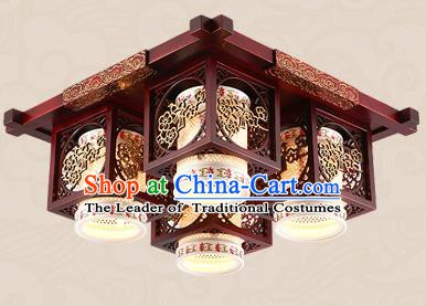 Traditional Chinese Handmade Four-Lights Lantern Asian Wood Carving Ceiling Lanterns Ancient Lantern