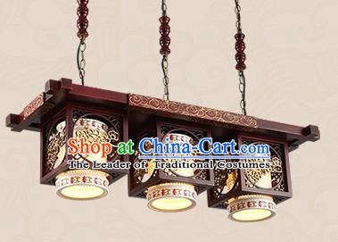 Traditional Chinese Handmade Three-Lights Lantern Asian Wood Carving Ceiling Lanterns Ancient Lantern
