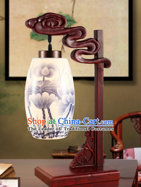 China Handmade Ink Painting Lotus Desk Lantern Painting Lanterns Traditional Lamp