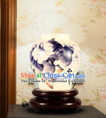 China Handmade Ink Painting Desk Lantern Painting Lanterns Traditional Lamp