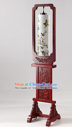 China Handmade Painting Butterfly Ceramics Floor Lantern Ancient Wood Lanterns Traditional Lamp