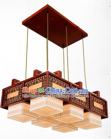 Traditional Chinese Handmade Six-Lights Lantern Wood Carving Hanging Lantern Ancient Palace Ceiling Lanterns