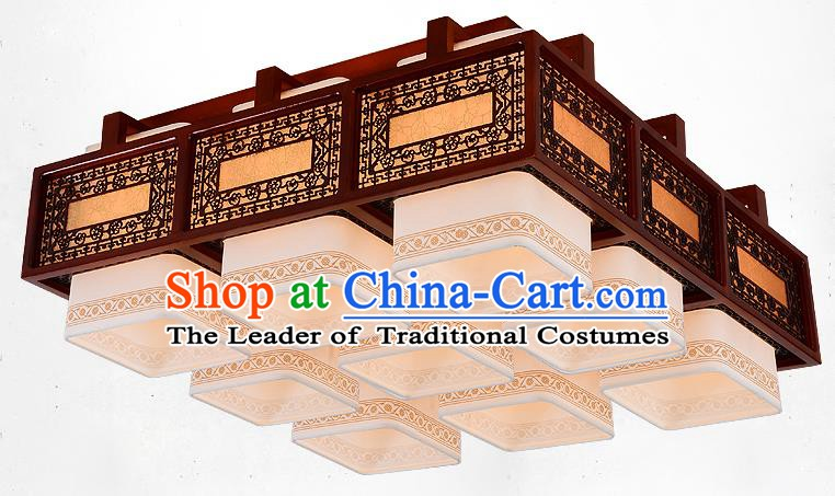 Traditional Chinese Handmade Nine-Lights Lantern Wood Carving Hanging Lantern Ancient Palace Ceiling Lanterns