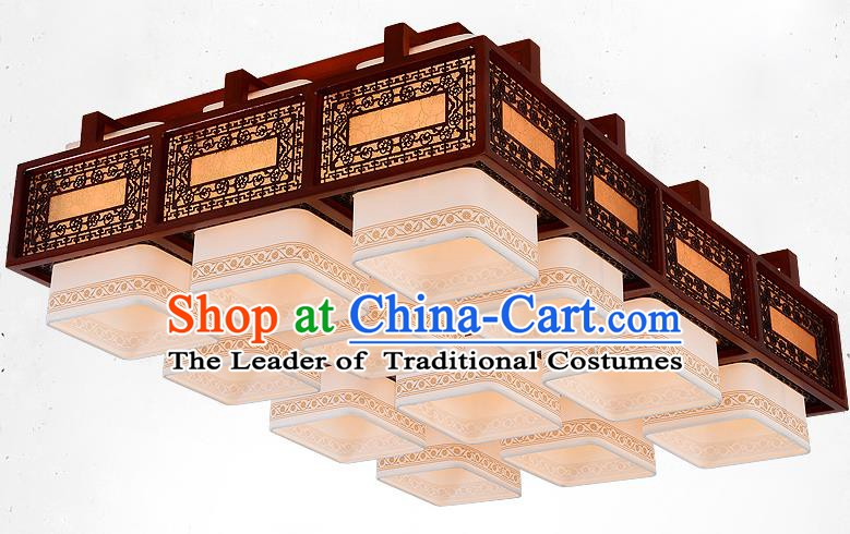 Traditional Chinese Handmade Twelve-Lights Lantern Wood Carving Hanging Lantern Ancient Palace Ceiling Lanterns
