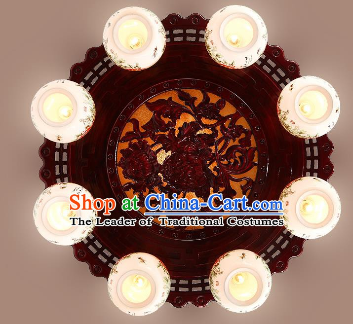 Traditional Chinese Handmade Eight-Lights Lantern Wood Carving Lantern Ancient Palace Ceiling Lanterns