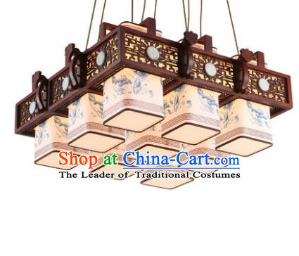 Traditional Chinese Handmade Nine-Lights Hanging Lantern Painting Lotus Wood Lantern Ancient Palace Ceiling Lanterns