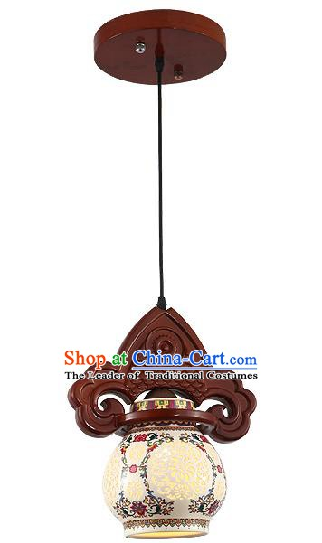Traditional Chinese Handmade Hanging Lantern Wood Fish Lantern Ancient Palace Ceiling Lanterns
