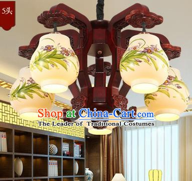 Traditional Chinese Handmade Painting Orchid Lantern Five-Lights Palace Lantern Ancient Ceiling Lanterns