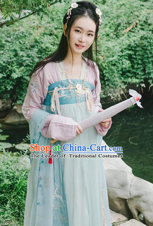 Chinese Tang Dynasty Princess Embroidered Costume Ancient Palace Lady Clothing for Women