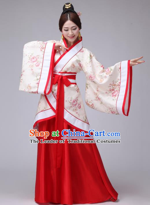 Chinese Han Dynasty Princess Embroidered Costume Ancient Palace Lady Hanfu Clothing for Women