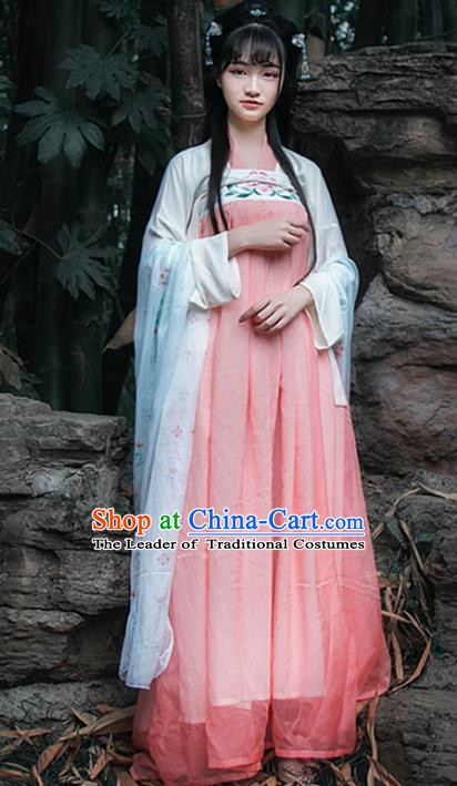 Chinese Tang Dynasty Princess Dress Costume Ancient Hanfu Embroidered Clothing for Women