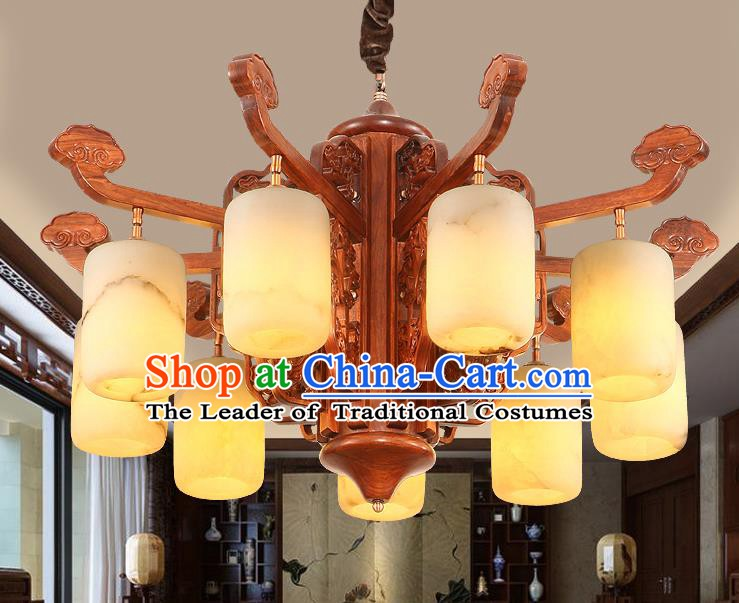 Traditional Chinese Handmade Marble Hanging Lantern Rosewood Nine-Lights Palace Lanterns Ancient Lamp