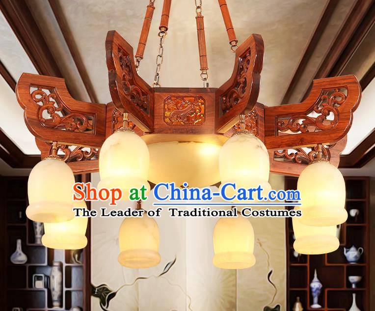 Traditional Chinese Handmade Wood Marble Ceiling Lantern Eight-Lights Palace Lanterns Ancient Lamp