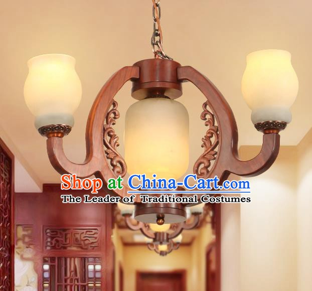 Traditional Chinese Handmade Rosewood Marble Ceiling Lantern Three-Lights Palace Lanterns Ancient Lamp
