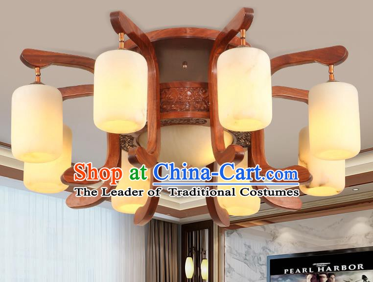 Traditional Chinese Handmade Marble Ceiling Lantern Wood Carving Nine-Pieces Palace Lanterns Ancient Lamp