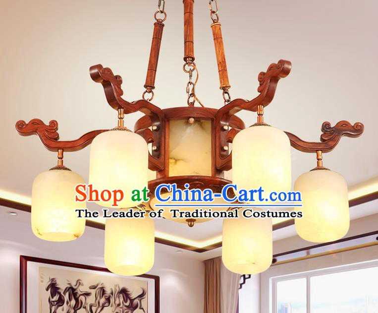 Traditional Chinese Handmade Marble Ceiling Lantern Wood Six-Pieces Palace Lanterns Ancient Lamp
