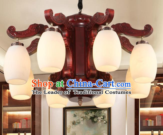 Traditional Chinese Handmade Marble Ceiling Lantern Eight-Pieces Palace Lanterns Ancient Wood Lamp