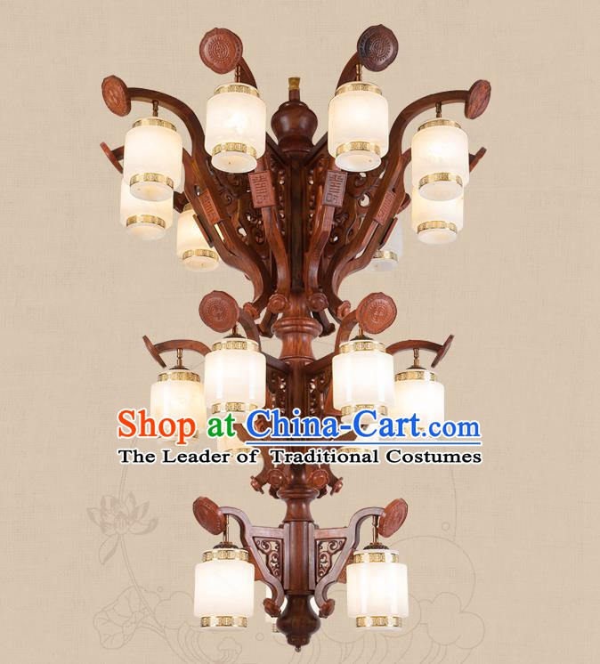 Traditional Chinese Handmade Palace Marble Ceiling Lantern Wood Eighteen-Pieces Lanterns Ancient Lamp