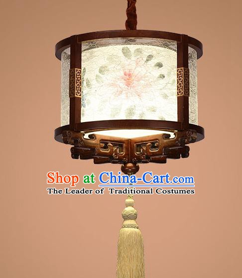 Traditional Chinese Handmade Palace Lantern Painting Peony Wood Hanging Lanterns Ancient Lamp