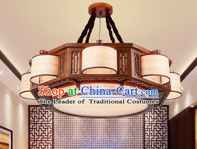 Traditional Chinese Handmade Palace Lantern Wood Eight-Lights Ceiling Lanterns Ancient Lamp