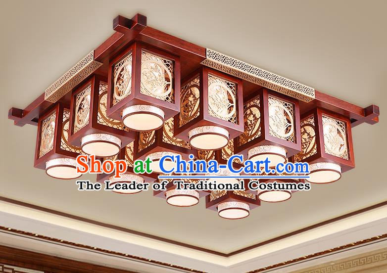 Traditional Chinese Handmade Palace Lantern Wood Carving Plum Blossom Twelve-Lights Ceiling Lanterns Ancient Lamp