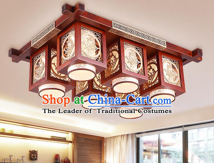 Traditional Chinese Handmade Palace Lantern Wood Carving Plum Blossom Six-Lights Ceiling Lanterns Ancient Lamp