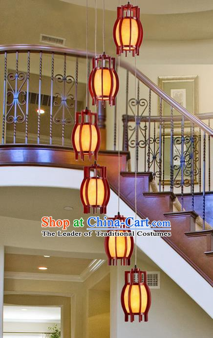 Traditional Chinese Handmade Palace Lantern Six-Lights Hanging Lanterns Ancient Wood Lamp