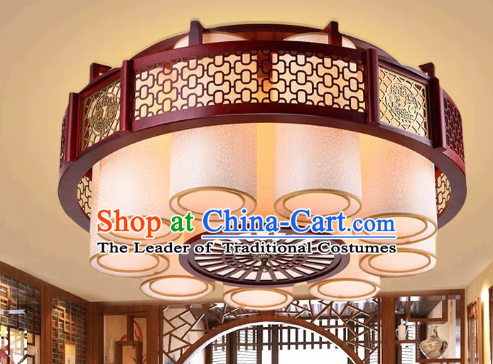 Traditional Chinese Handmade Palace Lantern Nine-Lights Ceiling Lanterns Ancient Wood Lamp