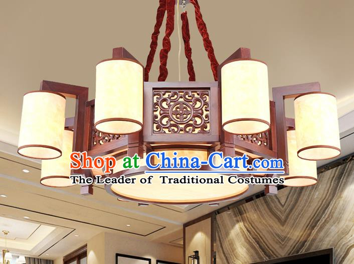 Traditional Chinese Handmade Palace Lantern Eight-Lights Lanterns Ancient Wood Hanging Lamp