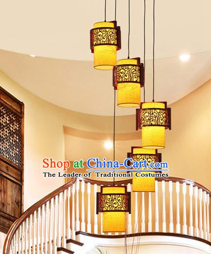Traditional Chinese Handmade Palace Lantern Five-Lights Hanging Lanterns Ancient Wood Lamp