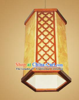 Traditional Chinese Handmade Wood Palace Lantern Parchment Hanging Lanterns Ancient Lamp