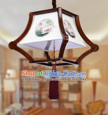 Traditional Chinese Handmade Wood Palace Lantern Painting Lotus Hanging Lanterns Ancient Lamp