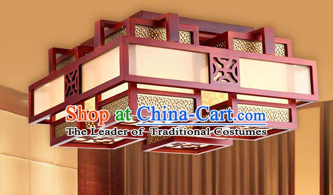 Traditional Chinese Handmade Squre Wood Palace Lantern Four-Lights Ceiling Lanterns Ancient Lamp