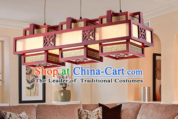 Traditional Chinese Wood Palace Lantern Handmade Three-Lights Ceiling Lanterns Ancient Lamp