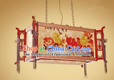 Traditional Chinese Painting Peony Palace Lantern Handmade Wood Ceiling Lanterns Ancient Lamp