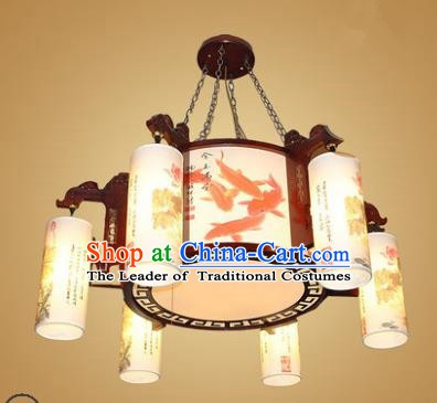 Traditional Chinese Hanging Palace Lantern Handmade Painting Fishes Ceiling Lanterns Ancient Lamp