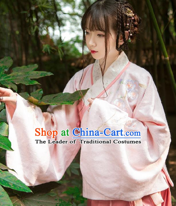Chinese Ancient Ming Dynasty Princess Hanfu Costume Embroidered Blouse and Skirt for Women