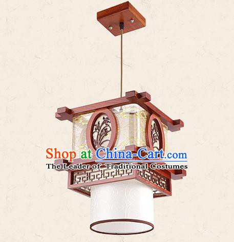 Traditional Chinese Wood Palace Lantern Handmade Carving Orchid Ceiling Lanterns Ancient Lamp