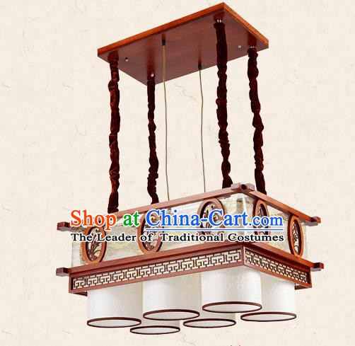 Traditional Chinese Wood Palace Lantern Handmade Carving Orchid Six-Lights Ceiling Lanterns Ancient Lamp