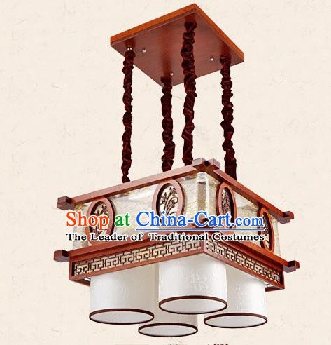 Traditional Chinese Wood Palace Lantern Handmade Carving Orchid Four-Lights Ceiling Lanterns Ancient Lamp