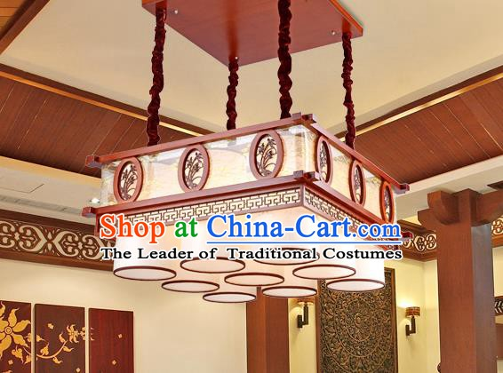 Traditional Chinese Wood Palace Lantern Handmade Carving Orchid Nine-Lights Ceiling Lanterns Ancient Lamp