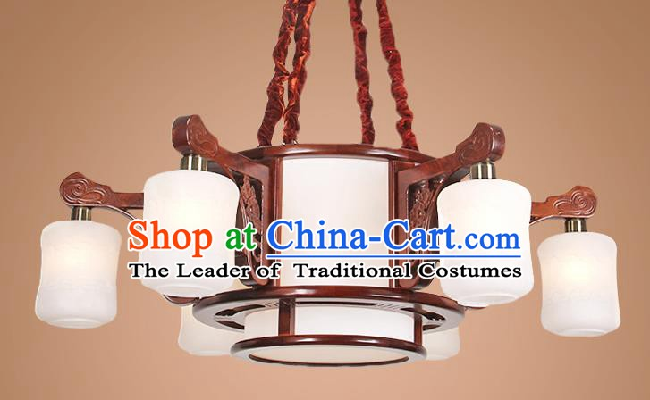 Traditional Chinese Six-Lights Palace Lantern Handmade Wood Hanging Lanterns Ancient Lamp